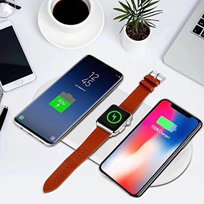 3-in-1 Wireless Charging Pad for 2x Phones and 1x Apple Watch (Compatible with iPhone and Android)