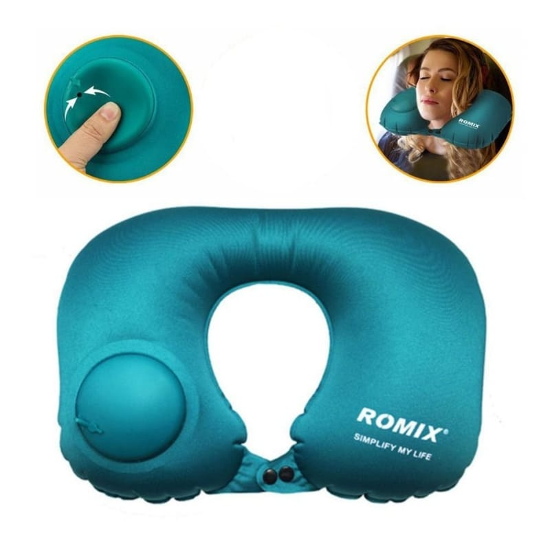 Foldable Travel Neck Pillow with Hand Pump (Multiple Colours Available)