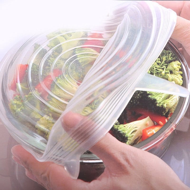 Pack of 6 or 12 Reusable Stretch Silicone Clear Lids