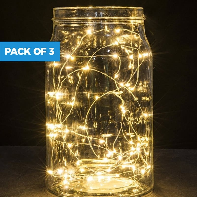 Pack of 3 Battery Operated Copper Fairy Lights (Multiple Sizes Available)