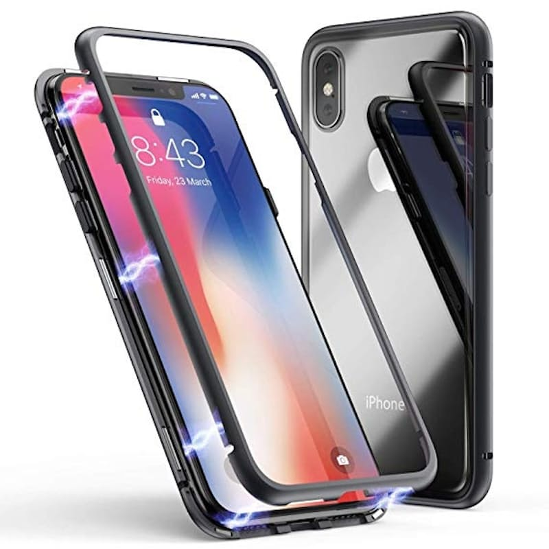 Double-sided Magnetic Tempered Glass Case for Apple iPhone or Samsung