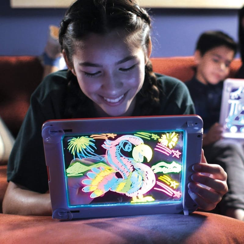 Light-Up Drawing Pad with Neon Pens