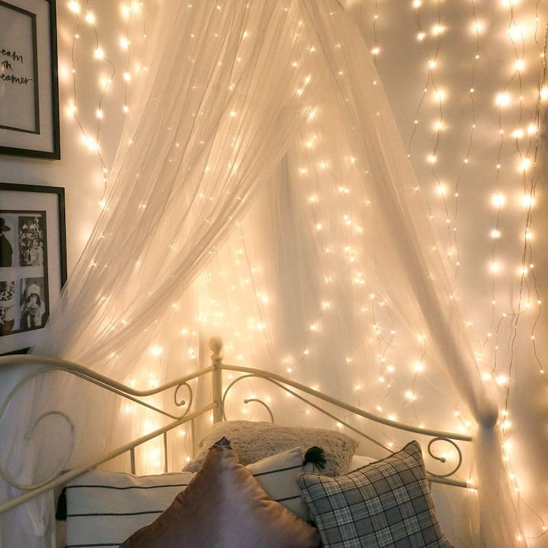Pack of 2 Warm White 10 Meter Copper Wire Micro Fairy String Light Curtain