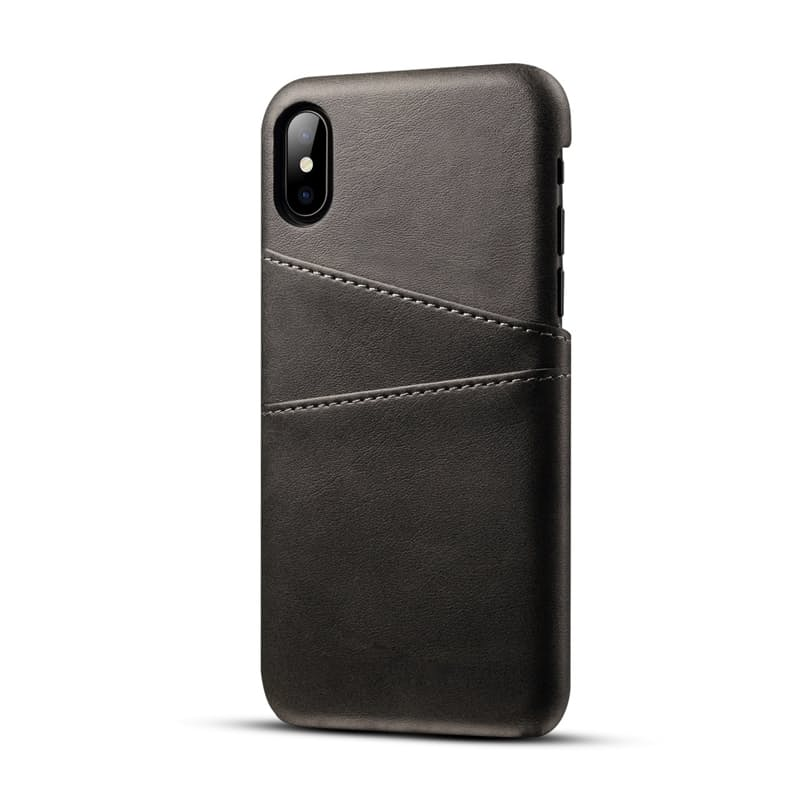 PU Leather Phone Cover with 2-Card Holder for Apple iPhone or Samsung + 9D Tempered Glass