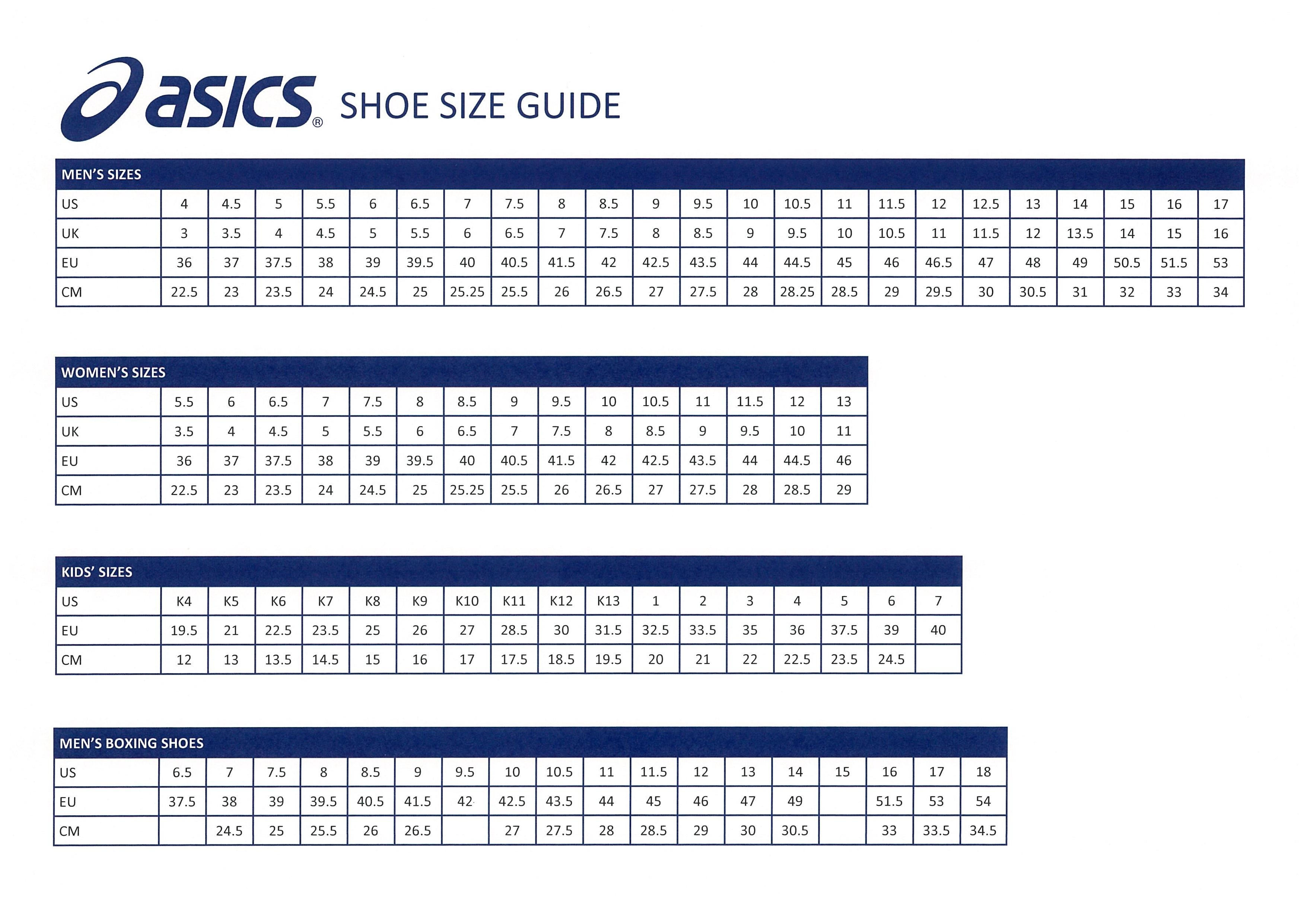 asics footwear size chart - 57% remise - www.muminlerotomotiv.com.tr