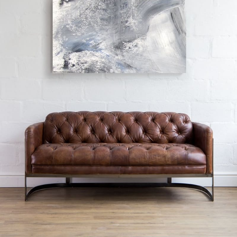 Luxury Vintage Full Grain Leather Chesterfield Sofa