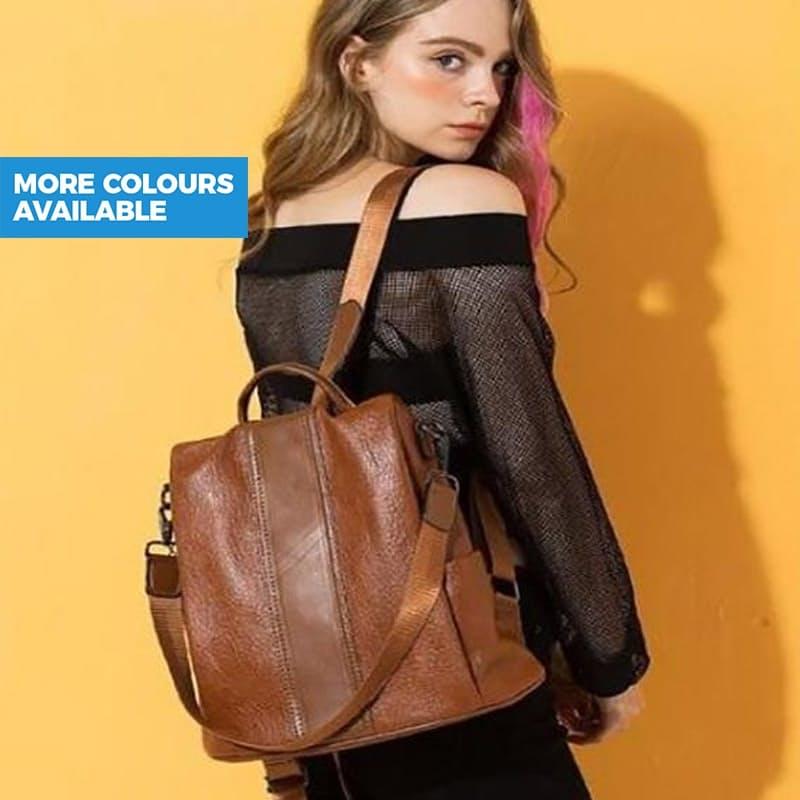 Ladies Anti-Theft PU Leather iPad/Tablet Backpack