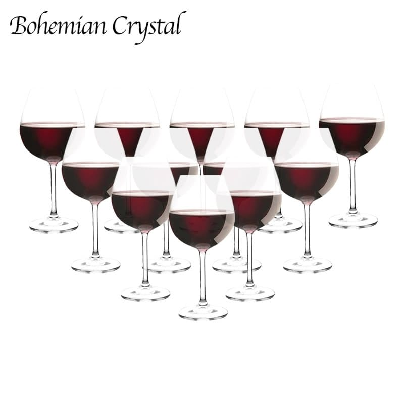 Set of 12 - Tall Crystal Red Wine Glasses (650ml)