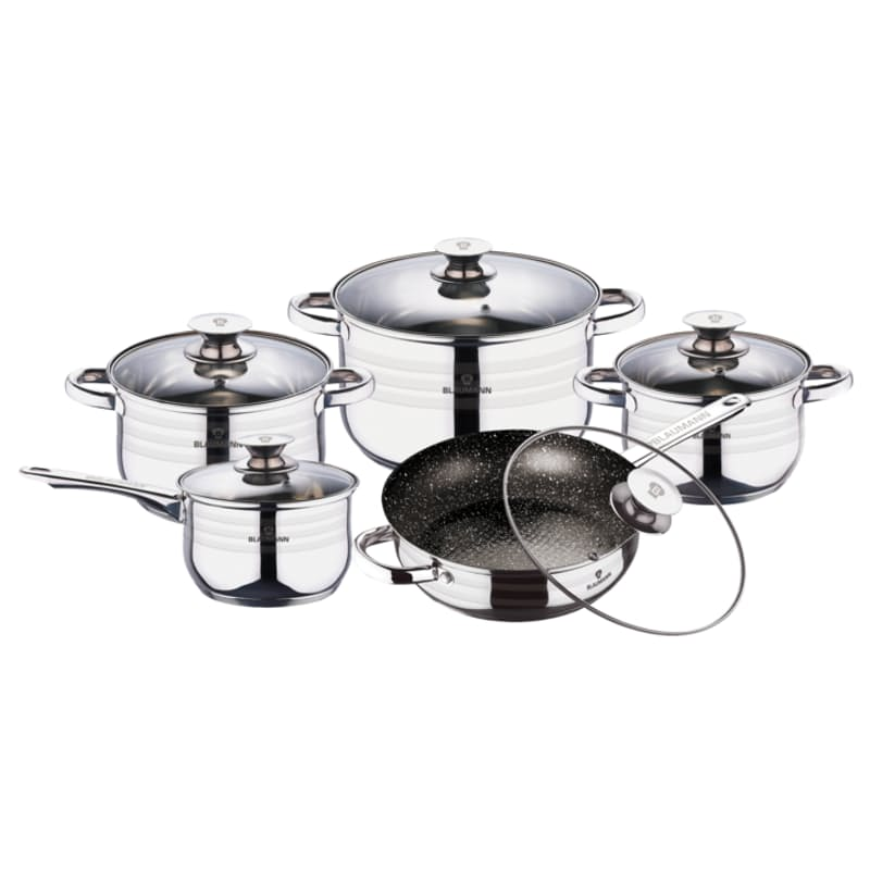 10-Piece Stainless Steel Jumbo Cookware Set with Glass Lids