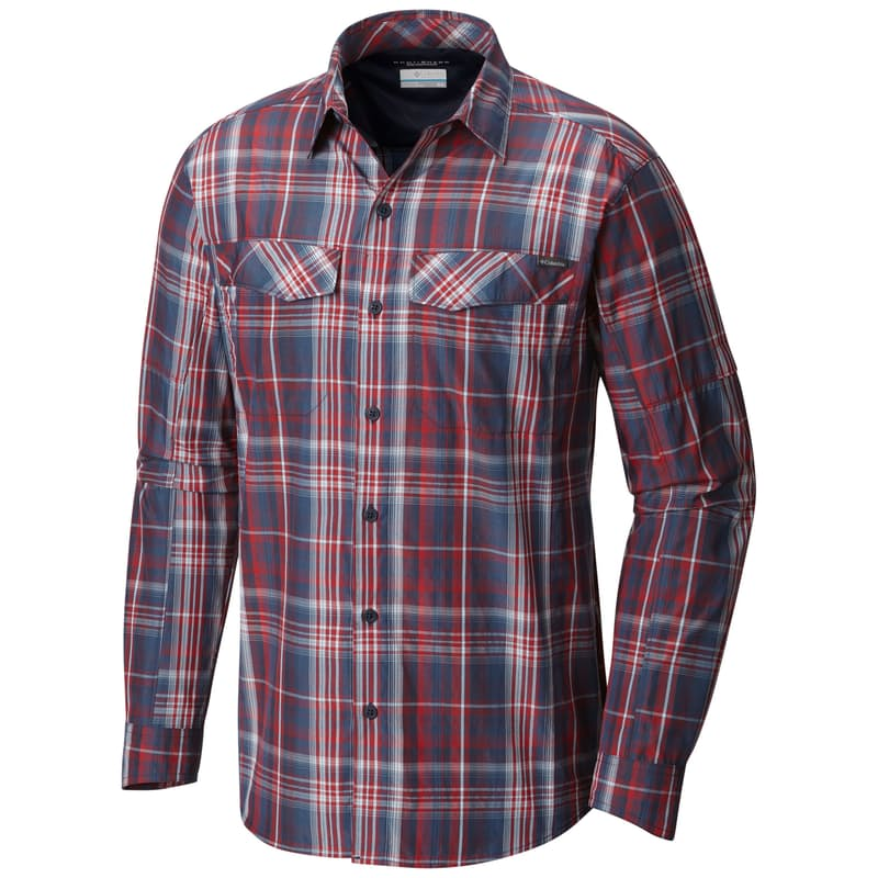 Men's Silver Ridge Plaid Long Sleeve Collared Shirt