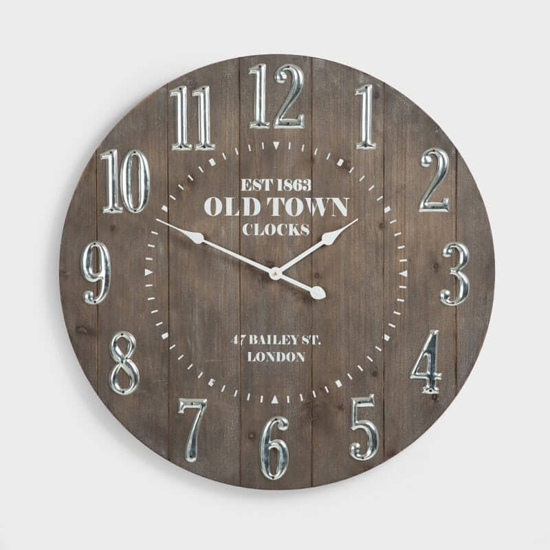 Old Town Wooden Wall Clock - 80cm x 80cm