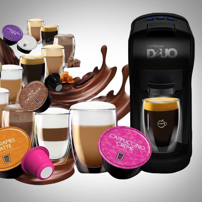 DUO Machine & 150 Nespresso Compatible & Dolcé Gusto® Compatible Coffee Capsules