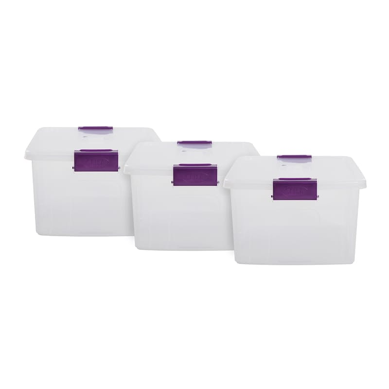 Pack of 3, 20L Stackable Clear Storage Containers with Clip Lids