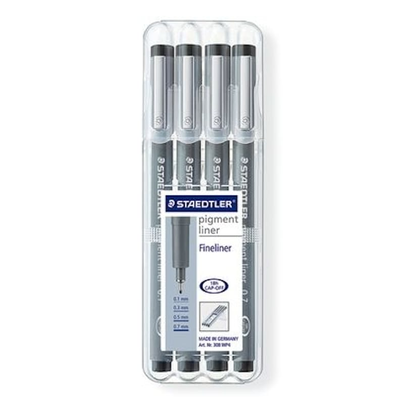 Pack of 4 Black Pigment 0.3mm Fineliners