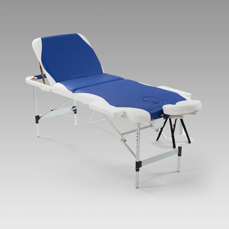 Deluxe Aluminium Massage Table - Blue and White with FREE Carry Bag worth R299