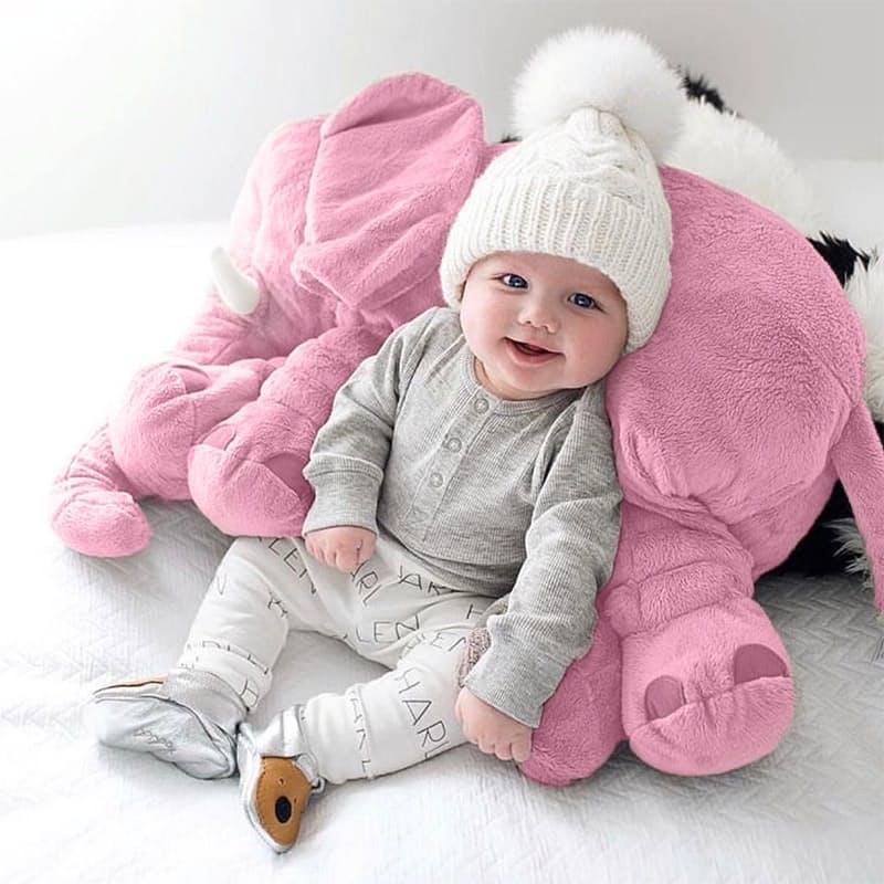 Stuffed Elephant Pillow with Plush Blanket