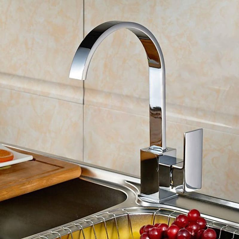 Rotatable Mirror-Finish Kitchen Faucet