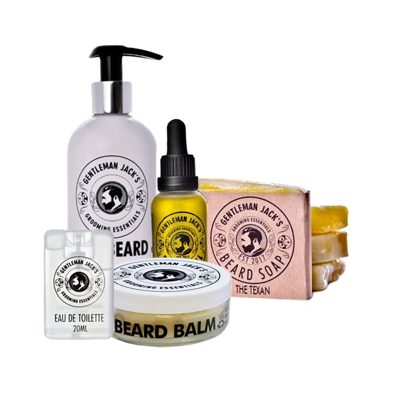 Men's Ultimate Beard Grooming Kit (Beard Oil, Beard Balm, Shampoo Bar, Body Wash, Eau de Toilette)