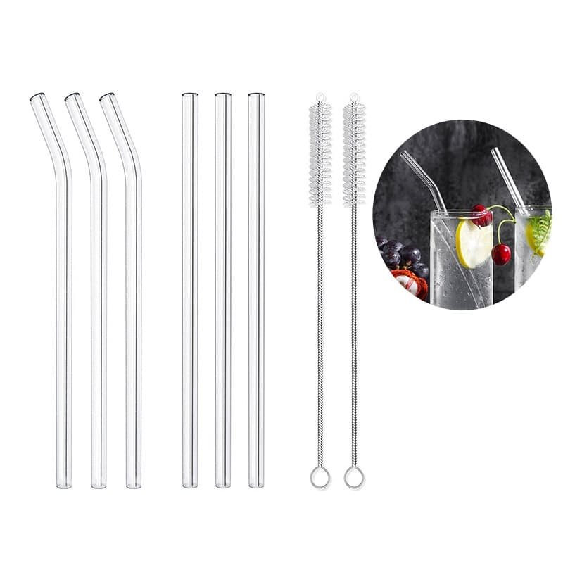 Set of 6 Reusable Glass Straws (Plus 2 Cleaning Brushes)