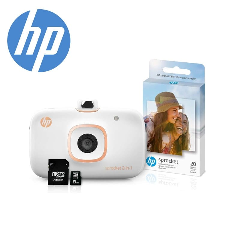 Sprocket 2-in-1 Portable Photo Printer & Instant Camera with 8GB MicroSD Card and ZINK Photo Paper