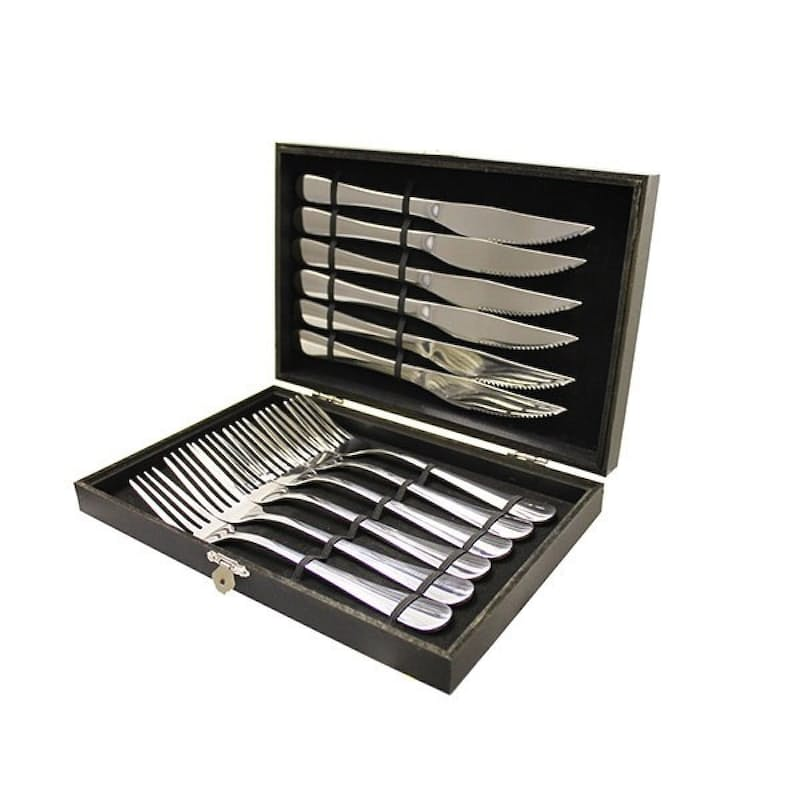 12 Piece Stainless Steel Steak Knife and Fork Set