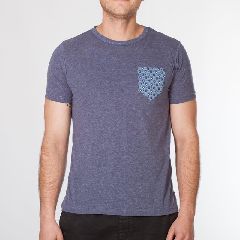 Men's Premium Slim Indigo Melange Shweshwe Pocket T-Shirt