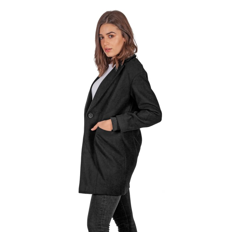 Ladies Black One Button Melton Coat