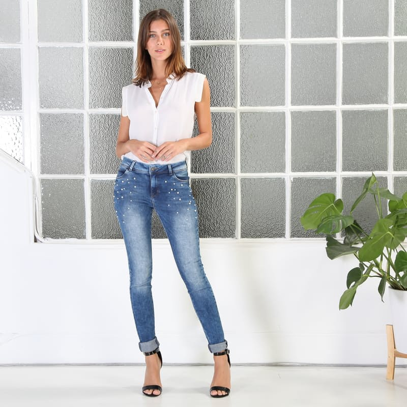 Ladies High-Waisted Pearl Embellished Skinny Jeans