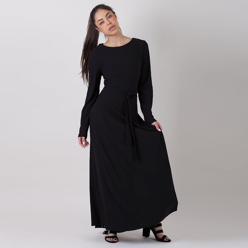 Ladies Round Neck Long Sleeve Maxi Dress