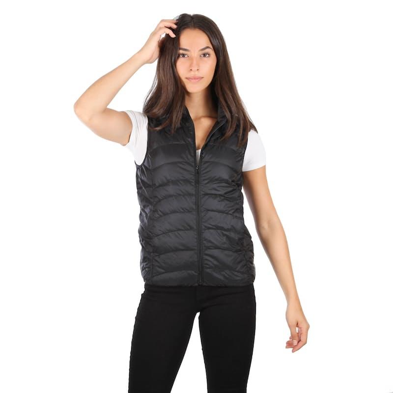 Ladies Curved Line Sleeveless Genuine Down Puffer Jacket