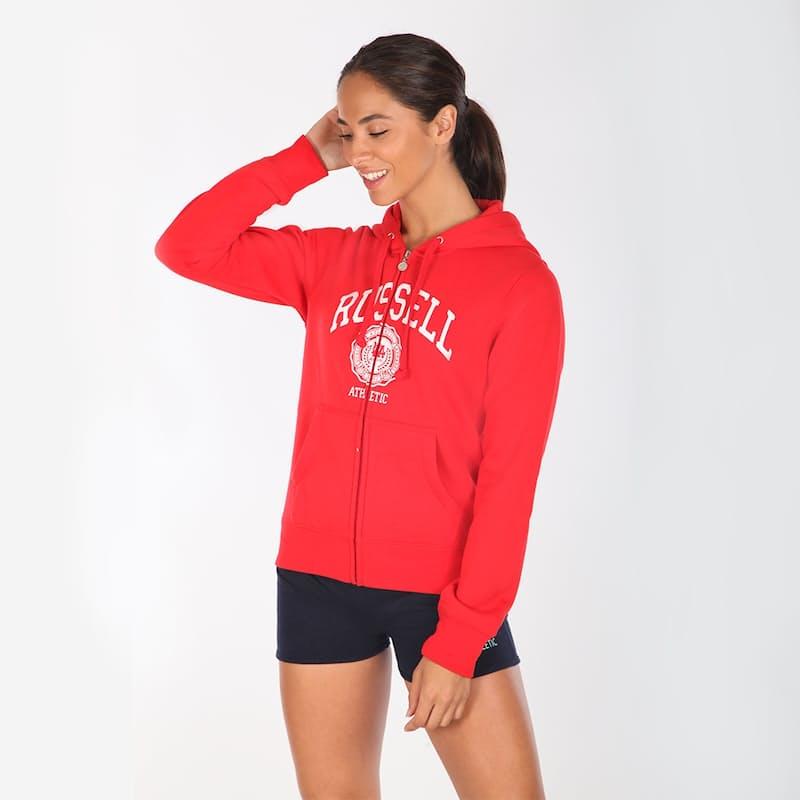 Ladies Zip Through Hoodie With Large Logo Print