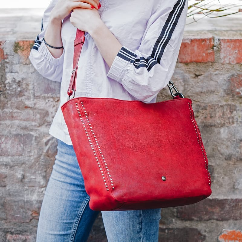 Amsterdam Studded Zip Top Tote Handbag