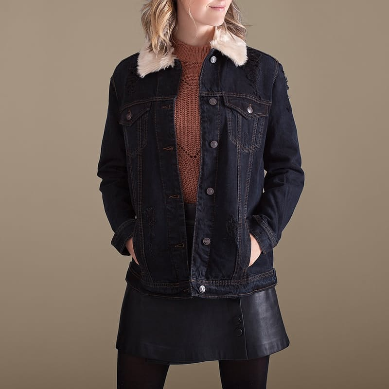 2-in-1 Denim Jacket with Removable Faux Fur Collar and Faux Fur Waistcoat