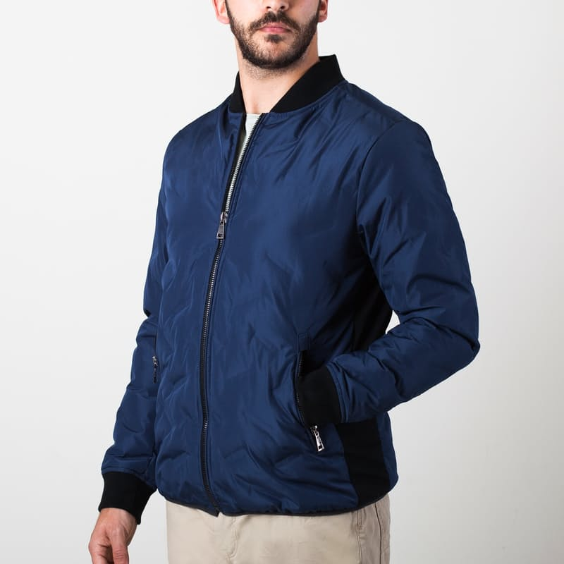 Calm Quilt Slim Down Bomber Jacket