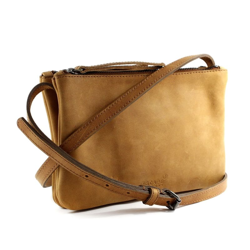 Genuine Leather Double Pouch Crossbody Bag with Sling