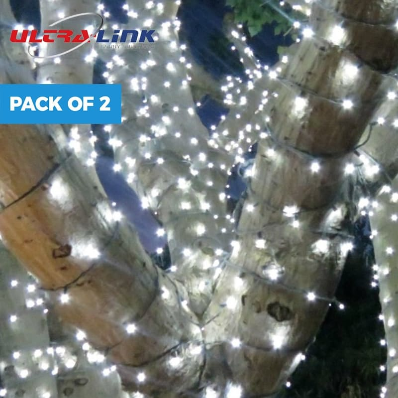 Pack of 2 Solar Fairy String Lights (Cool White)