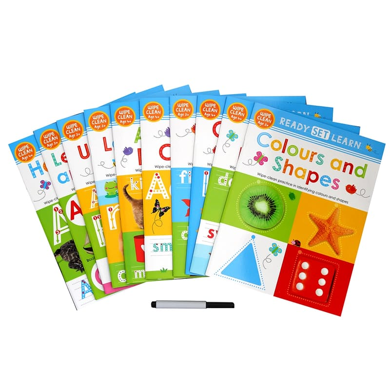 Ready Set Learn Pre-School Wipe-Clean Collection with Pen (10 Books)