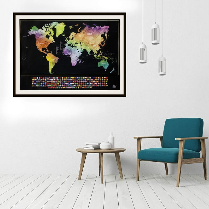 Deluxe Edition Scratch World Map with Copper Foiling