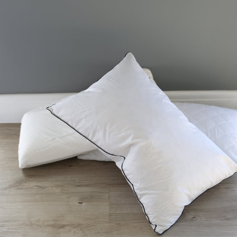 Set of 2 Standard Duck Feather Pillows (233 Thread Count 100% Cotton Down Proof Fabric)