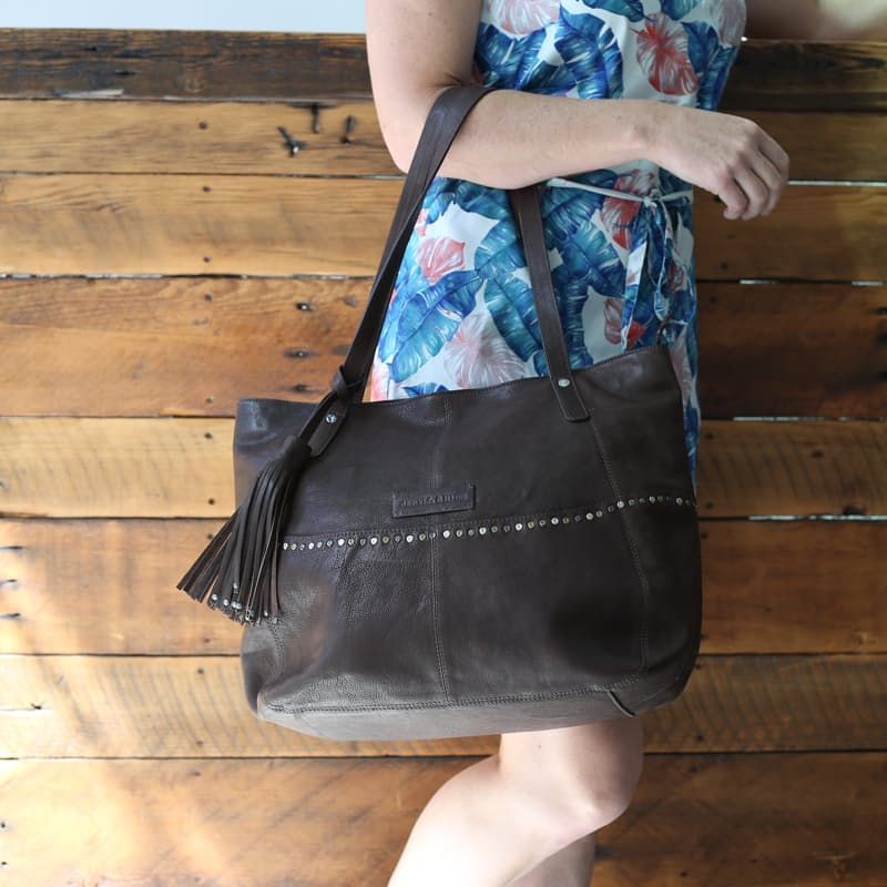 Buenos Aires Large Soft Slouch Handbag with Metal Studs and Tassle