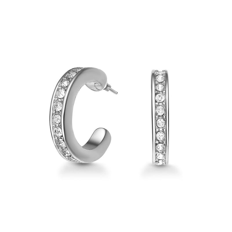Rhodium-Tone Plated Crescent Cuff Earrings with Crystals from Swarovski