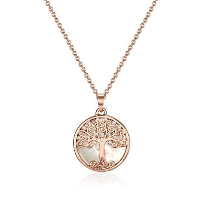 Rose Gold Willow Tree of Life Necklace with Swarovski Crystals