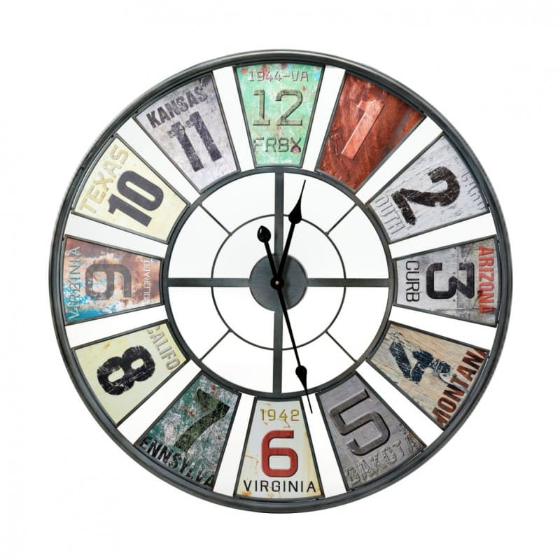 Multi-Colour Iron Wall Clock - 80cm x 80cm
