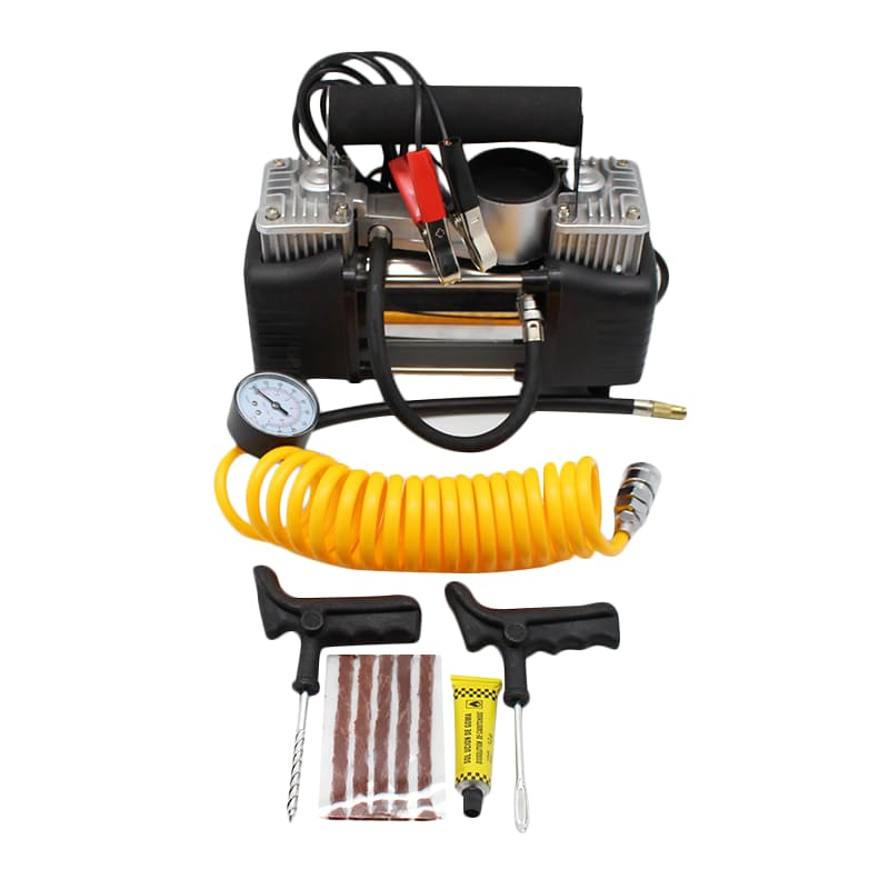 2 Cylinder Air Compressor and Tyre Repair Kit Combo