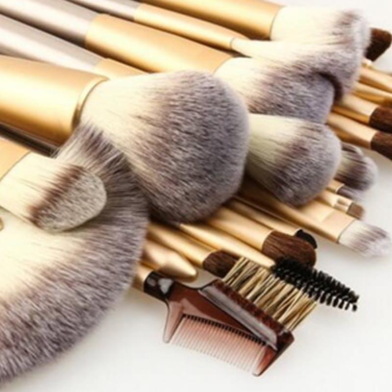 24 piece Champagne Gold Make-Up Brush Set