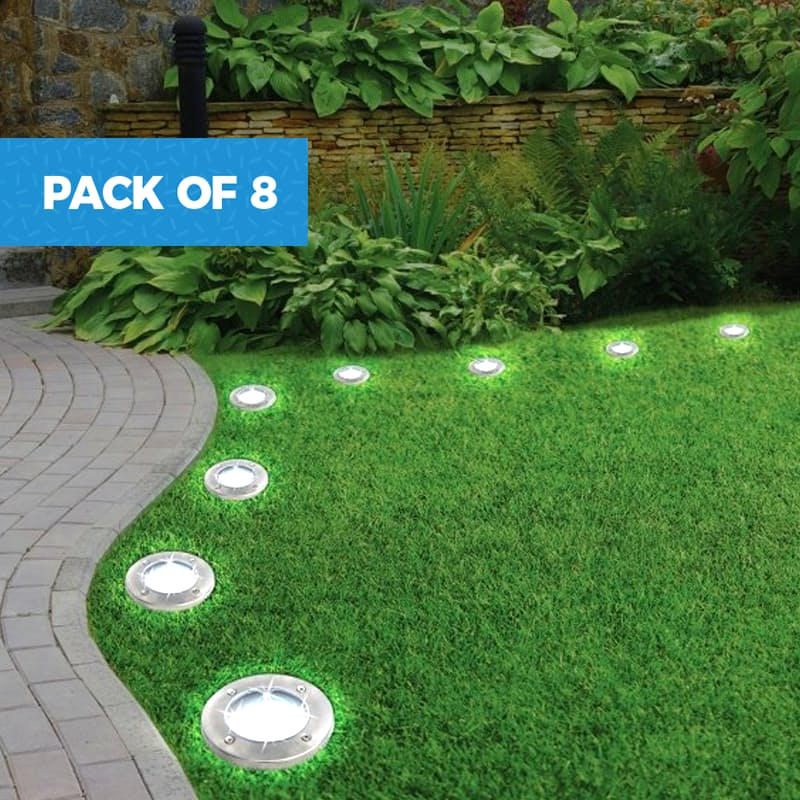 Pack of 8 Waterproof LED Disc Lights with Spikes