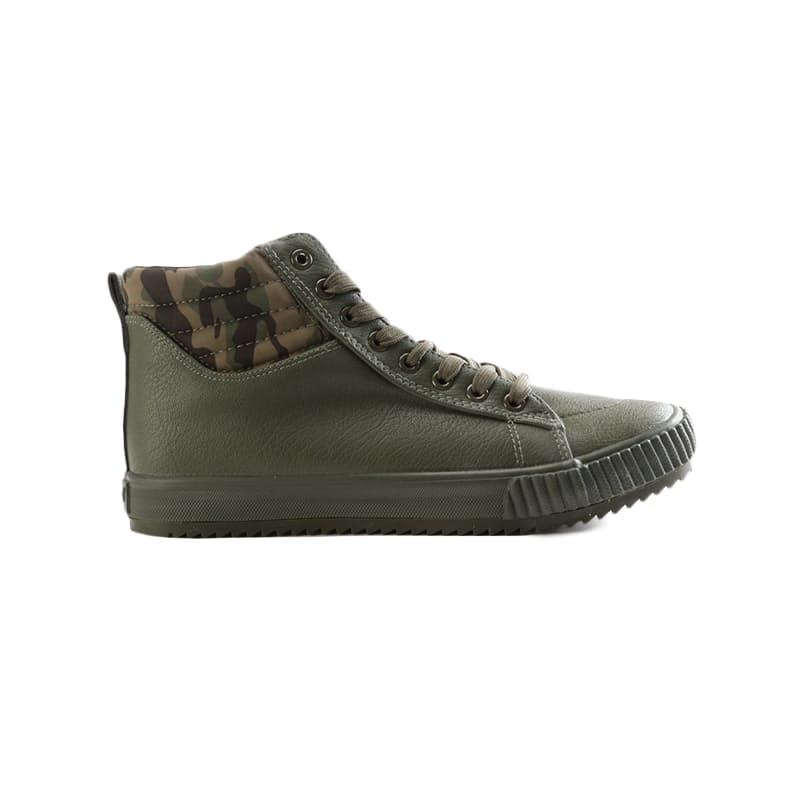 Men's Olive Mono PU High Top Sneaker