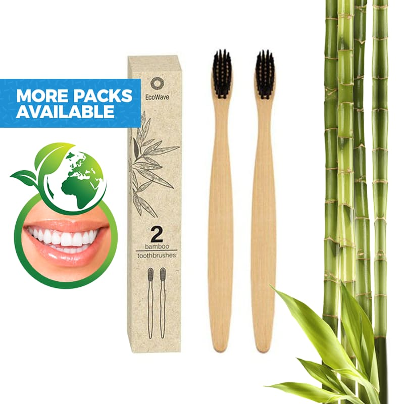Bamboo Black Bristle Toothbrushes (Multiple Pack Sizes Available)