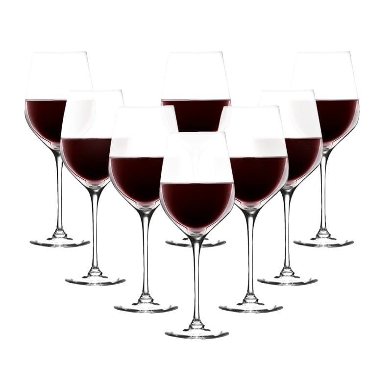 Set of 8 - Large Bordeaux Crystal Red Wine Glasses (670ml)