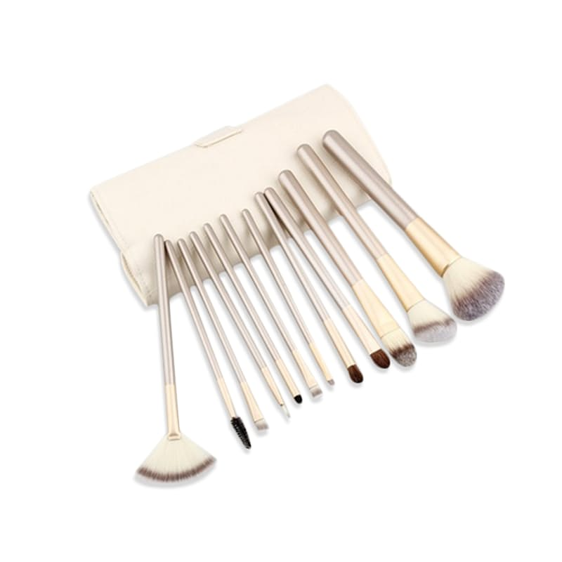 12 or 24 piece Champagne Gold Make-Up Brush Set